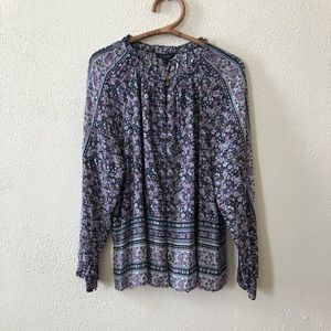 NWOT Lucky Brand Boho Floral Blouse XL